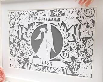 Framed wedding gift, wedding papercut, personalised wedding gift, wedding frame, custom wedding gift, papercut, unique wedding gift