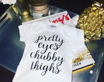 Pretty Eyes Chubby Thighs Onesie, Baby Bodysuit, Funny Baby Onesies
