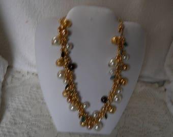 Vintage Pearls Crystal Rhinestone Charm Necklace #152