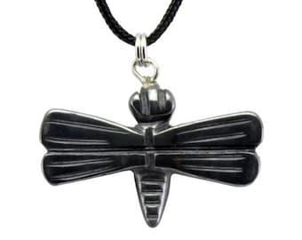 Dragonfly Hematite Gemstone Pendant Hand Carved Stone Necklace