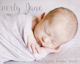 Birth Announcement, Post Card, Baby Newborn Picture, Printable, Digital file, Customizable, Wreath