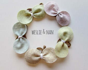 Baby/Toddler Headbands with Ice Cream Colour Pure Wool Felt  Bow  by Weslie and Nan