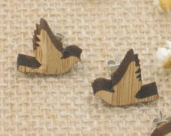 Wood earrings, bird earrings, wood earings, gift