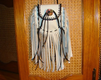 Native American Fringed Leather Medicine Bag Native Regalia Beaded Necklace Pouch
