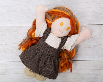 "11"" Waldorf Doll, Plush Doll, Girl, Yarn Hair, Rag Doll, Organic Cotton, Wool Doll, Steiner Doll, Cloth Doll, Handmade Doll"