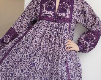 Vintage indian cotton hippie boho maxi long dress S/M