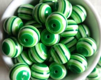 20mm green and white striped bubblegum beads (10ct) gumball bead chunky bead wholesale chunky necklace supply beads St. Patrick's day