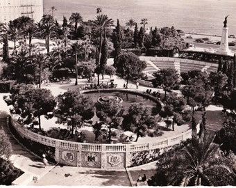Vintage 60s France Travel Postcard Theatre de Verdure Nice La Cote d'Azur French Riviera B&W Real Photo Deckled Edges