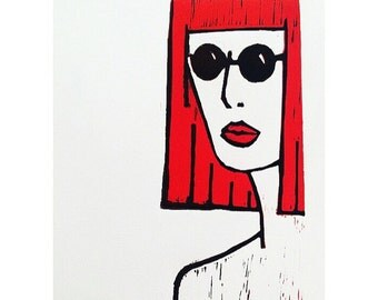 SALE (LIMITED TIME) Original Limited Edition ATokenWoman Red Head Lino Print | Art | Illustration | Wall Art | Modern | Feminist