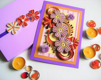 Happy Mother's Day Card,Flower birthday card,Anniversary card,Beautiful Quilling card,Paper Gift,Paper Flowers,Thank You Card,Birthday Gift
