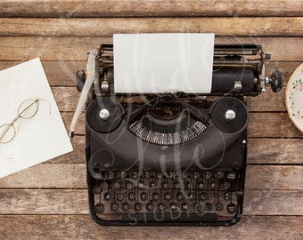 Styled Stock Photography - Horizontal Flat Lay Image of Rustic Wood Planks, Black Vintage Typewriter w Paper, Glasses and Coffee Cup - Blog