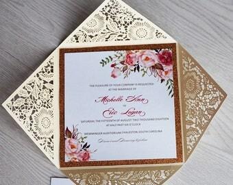 Bohemian Floral Wedding Invitations, Glitter Layer Laser Cut Wedding Invitations, Bridal Shower Invitations