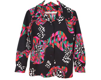 70s Psychedelic print pointed collar top 1970s button up shirt colorful blouse long sleeves large 60s mod