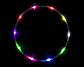 "The Hoop Shop® LED Hula Hoop - 14 Color Strobing LED Hula Hoop Lights - 3/4"" Inch HDPE Tubing - 7 Flashing Colors - Technicolor Prism"