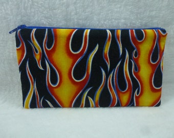 Hot Rod Flames zipper pouch, Make up bag, Cosmetic bag, Toiletry bag, Pencil pouch
