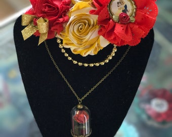 Beauty and the Beast Necklace and matching Bow.