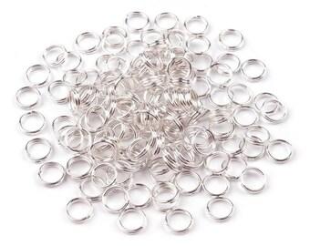 100 split rings in silver 6 mm