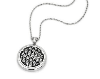 Silver Flower of Life (35mm) Aromatherapy / Essential Oils Diffuser Locket Necklace