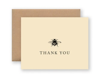 Thank You Cards / Set of 10 - Vintage Bee Illustration on Cream