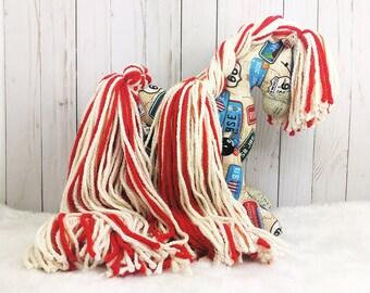 Route 66 Print Horse Stuffed Animal; toy horse; stuffed horse; stuffed pony; stuffed animal horse; toy horse; Bar H Designs; plush horse