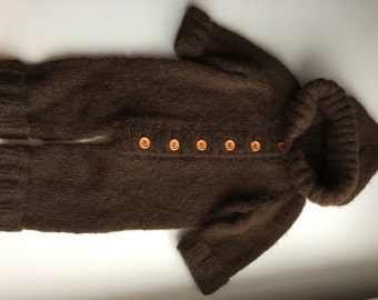 Hand Knit Overall/Jumpsuit/Romper with a hood or Baby  - 6-12M
