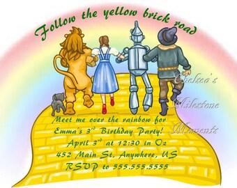 Wizard of Oz Yellow Brick Road Invitation
