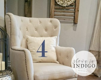 Number Pillow - Fixer Upper Style - Modern House Numbers - Family Number - Throw Pillow - Linen - Farmhouse Pillow - Rustic home decor