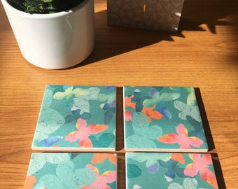 Ceramic Coasters -Butterfly Design