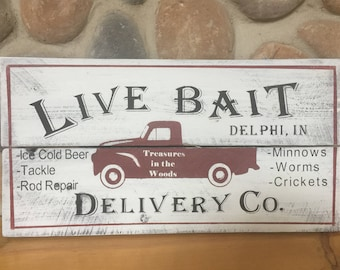 Bait and Tackle sign, Personalized Fishing sign, christmas gift for dad