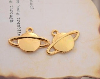 10 planet charms gold saturn charm pendants