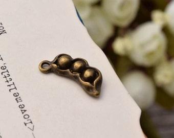 20 peapod charms charm pea pod pendant pendants antique bronze tone  (HH01)