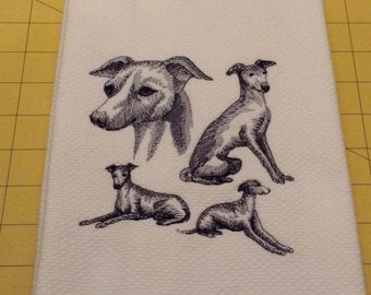 Italian Greyhound Collage Embroidered Kitchen Hand Towel, Williams Sonoma All Purpose, 100% cotton & Extra Large 20 x 30.