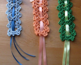 3 Vintage New Crochet Bookmarks with Ribbons Peach Light Blue Emerald Green
