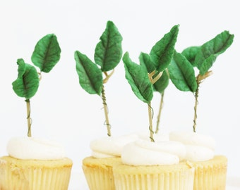 12 Cupcake Toppers, Gum paste Leaves, Cupcake Toppers, Sugar Leaves, Edible Sugar Leaves, Weddings, Decoration, Showers, Celebration