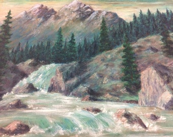 Mountain Landscape Painting on Canvas by Dufur 1965
