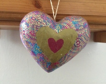 Beautiful hanging decoupaged gold/purple/glitter heart