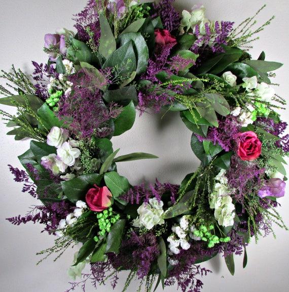"custom sizes, 20"" lemon leaf wreath, small wreath, large wreath, leaf wreath, indoor wreath, roses wreath, natural wreath, decorative wreath"