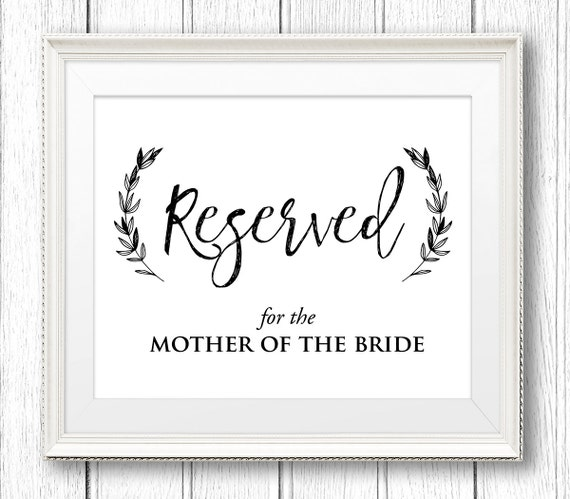 Editable Reserved Sign, Wedding Reserved Table / Seat Sign, 8x10, Instant Download, PDF Template, Edit Your Own Text, Digital File #SW32