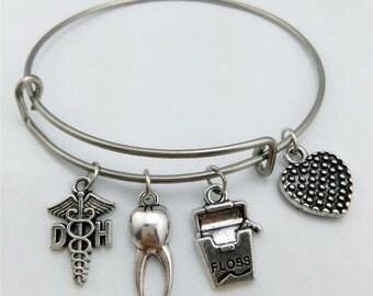 Dental hygienist Bracelet, Dental Bracelet, Dentist, Hygienist Bracelet, Hygienist Gift, Bangle Bracelet