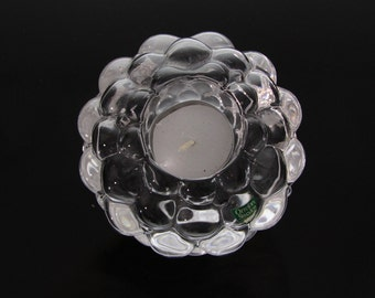 Pretty candle holder for tealights by Orrefors, Raspberry, Anne Nilsson