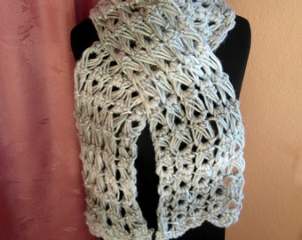 Scarf, knitted scarf, ladies scarf, grey with silver thread, handmade, unique, handmade, scarf, OOAK