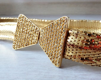 Gold metal belt 1970s vintage fish scale, never used, disco style, Italian fashion