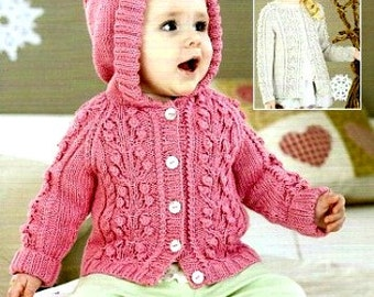 Knitting pattern Hooded Jacket or Round Neck Cardigan / PDF / Vintage pattern