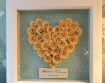 Picture Frame with a Handmade Cream Heart a Perfect Christening Gift or Naming Ceremony Gift