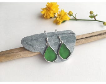 Sea glass earrings, green, drop earrings, handmade jewellery, silver, unique, beach, boho, surf, gifts for her, women's accessories