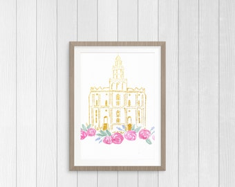 St George Temple and Floral Watercolor Printable, Gold St. George Temple Print, LDS Art Print, YW Art Print, Gallery Wall Art, Hand Painted