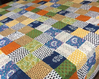 king size quilt with patchwork handmade colorful patches 100cotton kantha quilt reversible ready to
