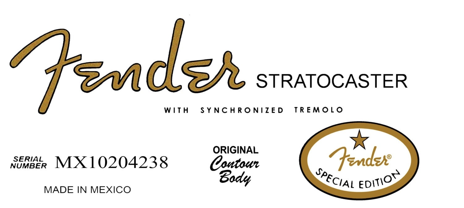 two fender special edition 60s stratocaster headstock decals