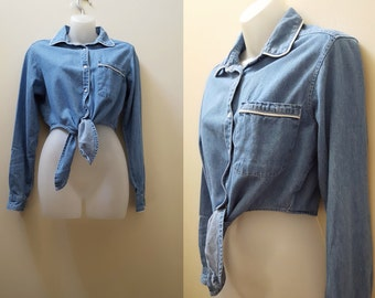 1990s Crop Top / 90s Chambray Tie-Front Cropped Top