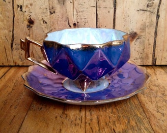 Blue and purple lusterware Castle china geometric footed teacup and saucer hand painted in Japan, vintage china